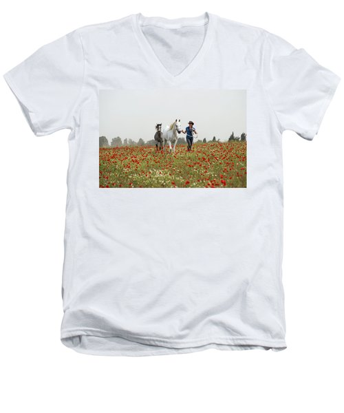 Men's V-Neck T-Shirt featuring the photograph Three At The Poppies' Field... 3 by Dubi Roman