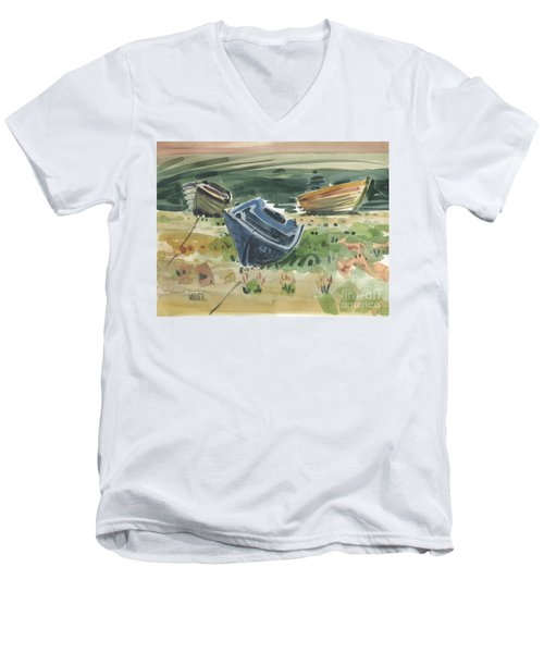 Men's V-Neck T-Shirt featuring the painting Three Boats by Donald Maier
