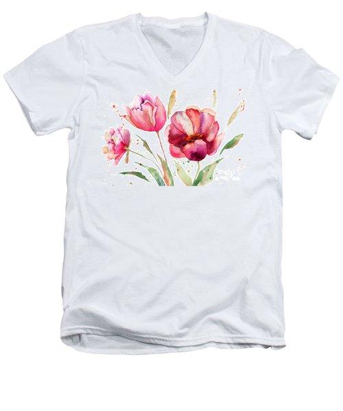 Three Tulips Flowers  Men's V-Neck T-Shirt