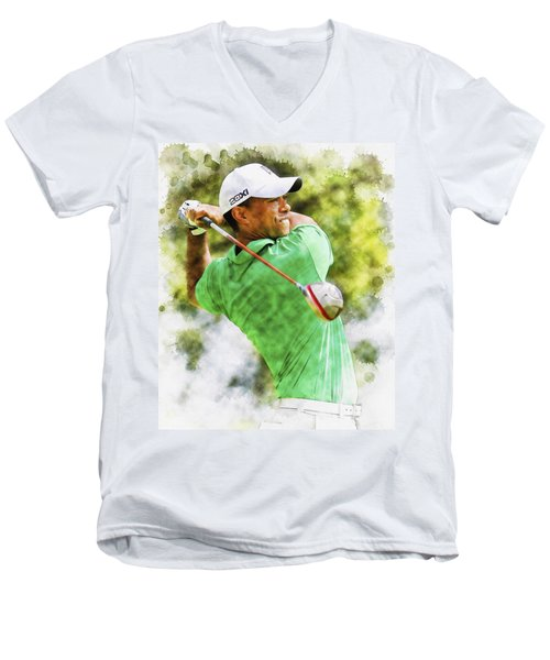 Tiger Woods Hits A Drive  Men's V-Neck T-Shirt