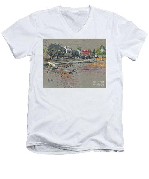 Men's V-Neck T-Shirt featuring the drawing Train's Coming by Donald Maier