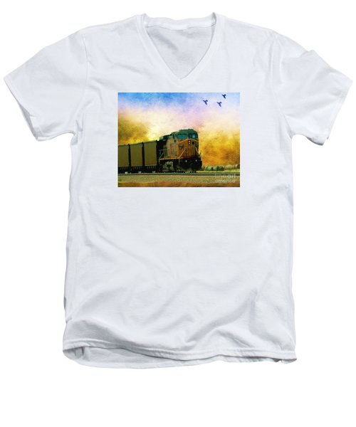 Union Pacific Coal Train Men's V-Neck T-Shirt by Janette Boyd