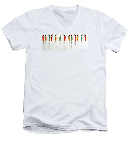 Vibrant Masai Warriors - Original Artwork Men's V-Neck T-Shirt