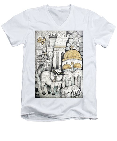 Villages Of My Childhood Men's V-Neck T-Shirt