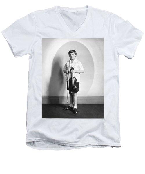Violinist Yehudi Menuhin Men's V-Neck T-Shirt