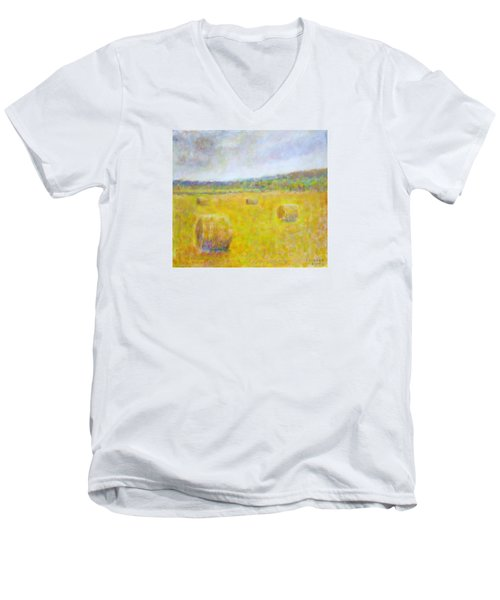 Wheat Bales At Harvest Men's V-Neck T-Shirt