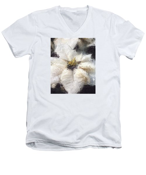 Men's V-Neck T-Shirt featuring the painting White Poinsettias Christmas Card by Jennifer Hotai