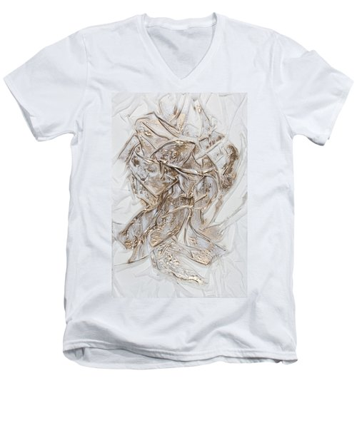 White With Gold Men's V-Neck T-Shirt