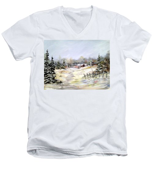 Men's V-Neck T-Shirt featuring the painting Winter At The Farm by Dorothy Maier