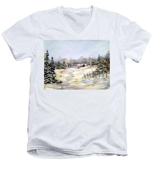 Winter At The Farm Men's V-Neck T-Shirt by Dorothy Maier