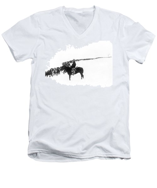 Wintertime Cattle Drive Men's V-Neck T-Shirt