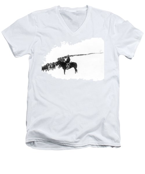 Wintertime Cattle Drive Men's V-Neck T-Shirt