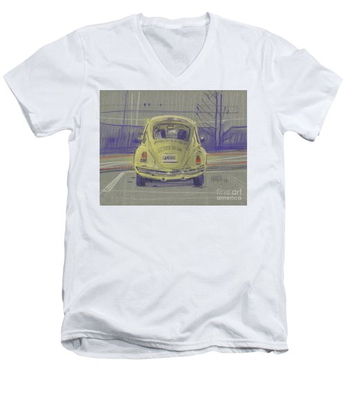 Men's V-Neck T-Shirt featuring the painting Yellow Beetle by Donald Maier