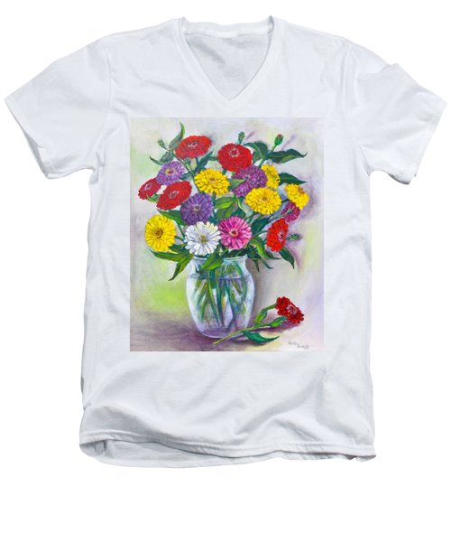 Old Fashioned Zinnias Men's V-Neck T-Shirt