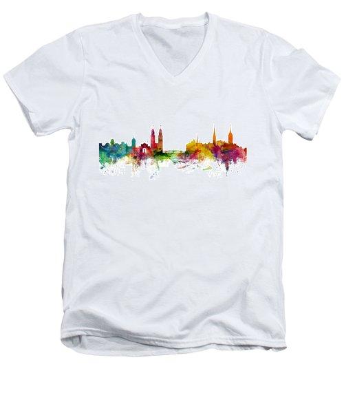 Zurich Switzerland Skyline Men's V-Neck T-Shirt by Michael Tompsett