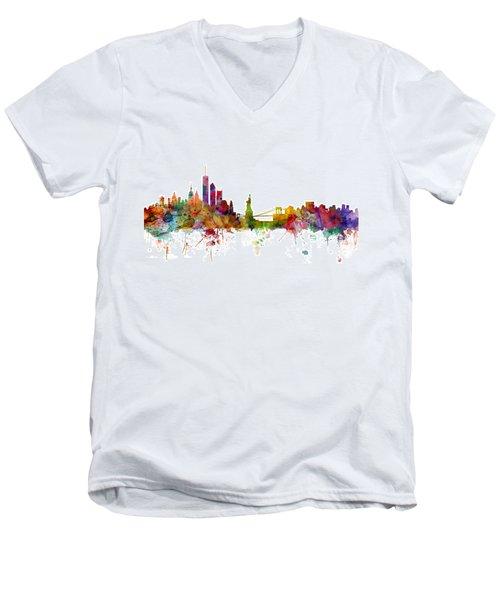 New York Skyline Men's V-Neck T-Shirt by Michael Tompsett