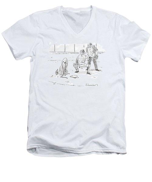 New Yorker October 10th, 2005 Men's V-Neck T-Shirt by Danny Shanahan