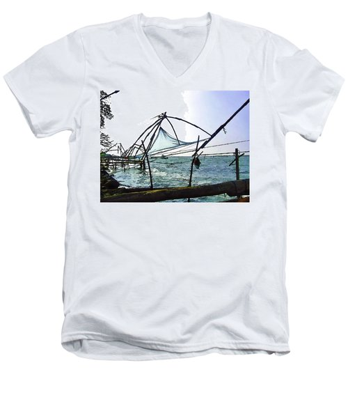 Fishing Nets On The Sea Coast In Alleppey Men's V-Neck T-Shirt