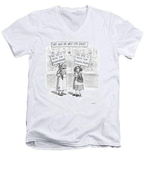 Turf War On West 49th Street Men's V-Neck T-Shirt