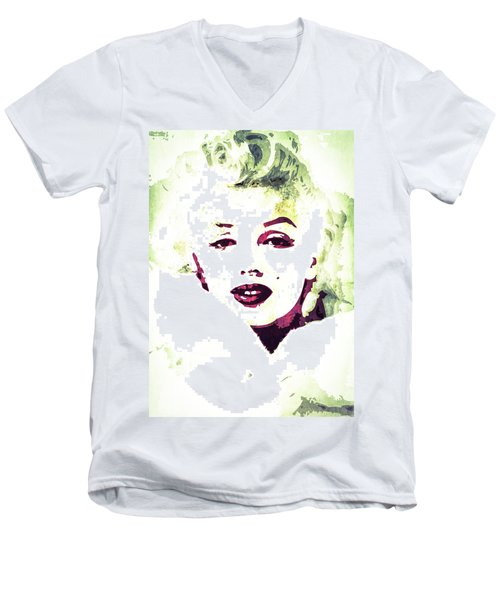 Men's V-Neck T-Shirt featuring the digital art Marilyn Monroe by Svelby Art