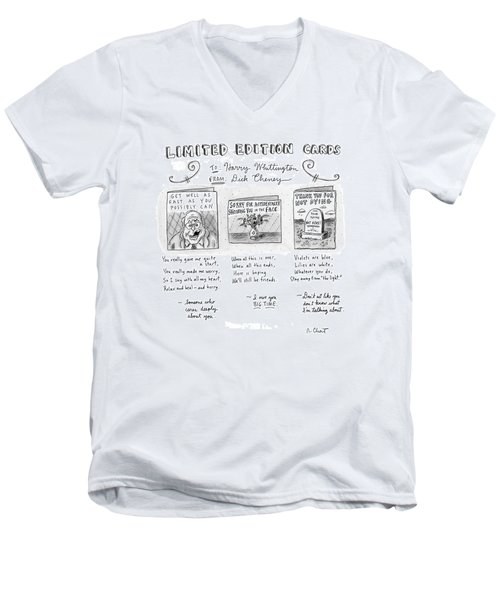 Limited Edition Cards Men's V-Neck T-Shirt by Roz Chast