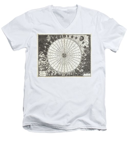 1650 Jansson Wind Rose Anemographic Chart Or Map Of The Winds Men's V-Neck T-Shirt by Paul Fearn