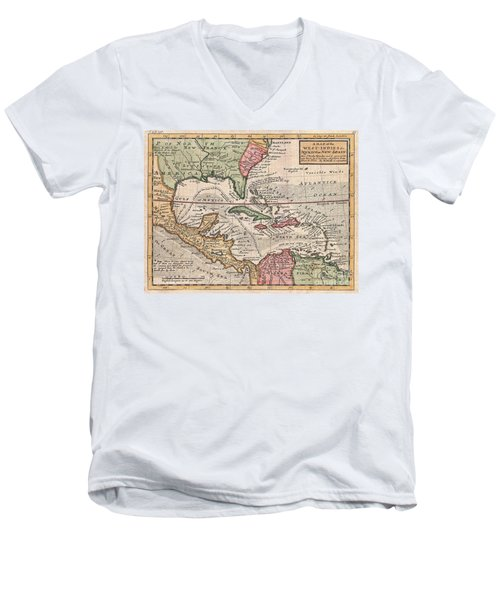 1732 Herman Moll Map Of The West Indies And Caribbean Men's V-Neck T-Shirt by Paul Fearn