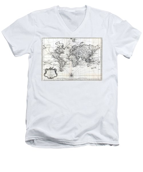1748 Antique World Map Versuch Von Einer Kurzgefassten Karte  Men's V-Neck T-Shirt by Karon Melillo DeVega