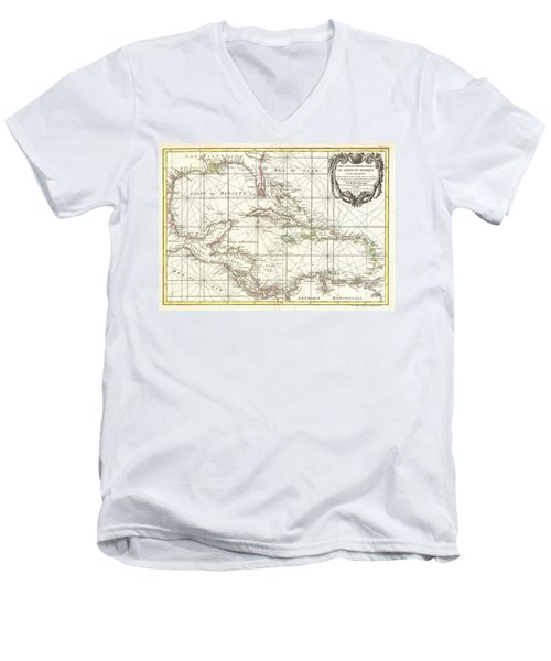 1762 Zannoni Map Of Central America And The West Indies Men's V-Neck T-Shirt