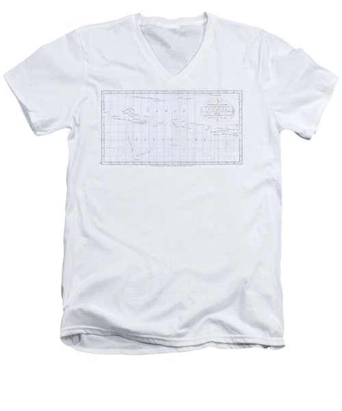 1780 Cook  Hogg Map Of Tahiti  Men's V-Neck T-Shirt
