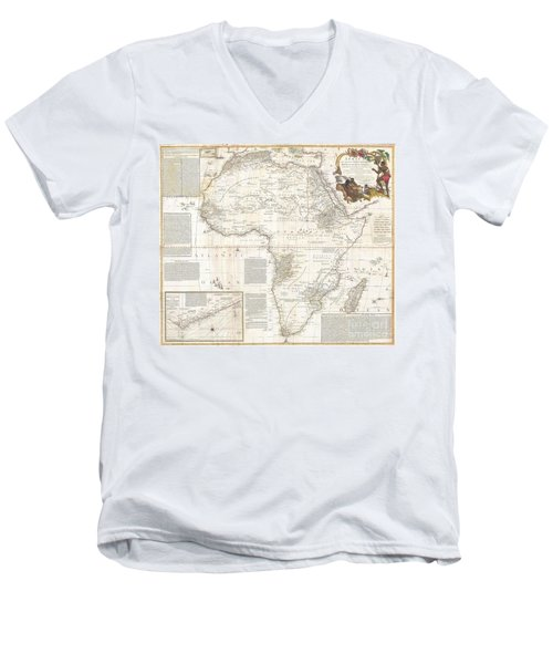 1787 Boulton  Sayer Wall Map Of Africa Men's V-Neck T-Shirt