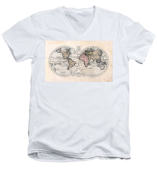 Men's V-Neck T-Shirt featuring the photograph 1791 Antique World Map Die Funf Theile Der Erde by Karon Melillo DeVega