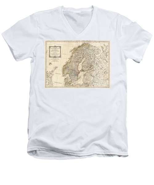 1794 Laurie And Whittle Map Of Norway Sweden Denmark And Finland Men's V-Neck T-Shirt
