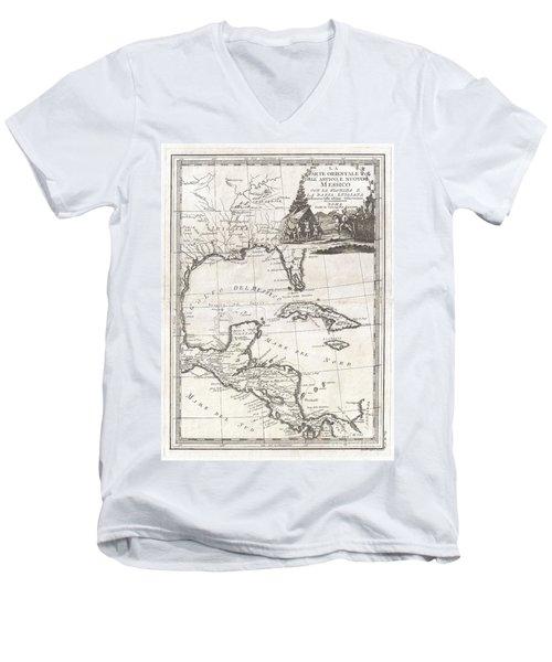 1798 Cassini Map Of Florida Louisiana Cuba And Central America Men's V-Neck T-Shirt