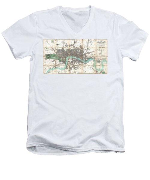 1806 Mogg Pocket Or Case Map Of London Men's V-Neck T-Shirt
