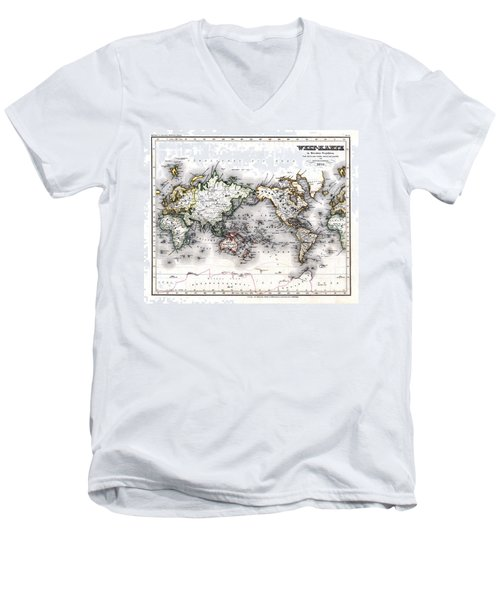 1850 Antique World Map Welt Karte In Mercators Projektion Men's V-Neck T-Shirt by Karon Melillo DeVega