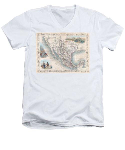 1851 Tallis Map Of Mexico Texas And California  Men's V-Neck T-Shirt