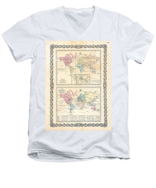 Men's V-Neck T-Shirt featuring the photograph 1855 Antique First Plate Ortelius World Map Animal Kingdom World Commerce And Navigation by Karon Melillo DeVega