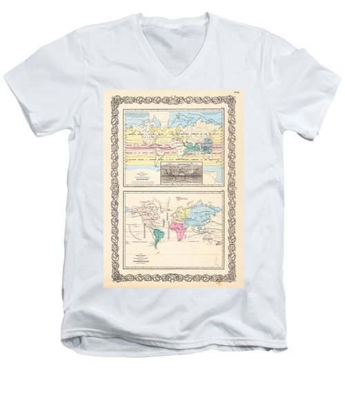 Men's V-Neck T-Shirt featuring the photograph 1855 Antique World Maps Illustrating Principal Features Of Meteorology Rain And Principal Plants by Karon Melillo DeVega