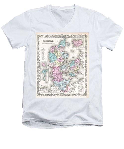 1855 Colton Map Of Denmark Men's V-Neck T-Shirt