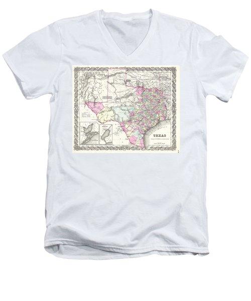 1855 Colton Map Of Texas Men's V-Neck T-Shirt