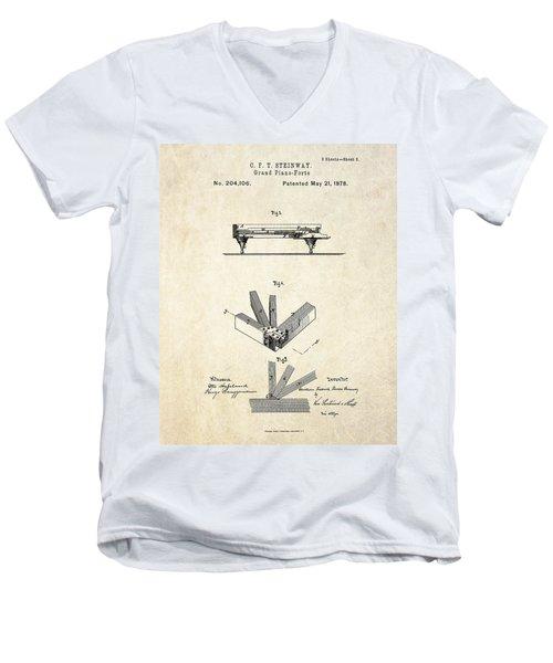 1878 Steinway Grand Piano Forte Patent Art S.2 Men's V-Neck T-Shirt