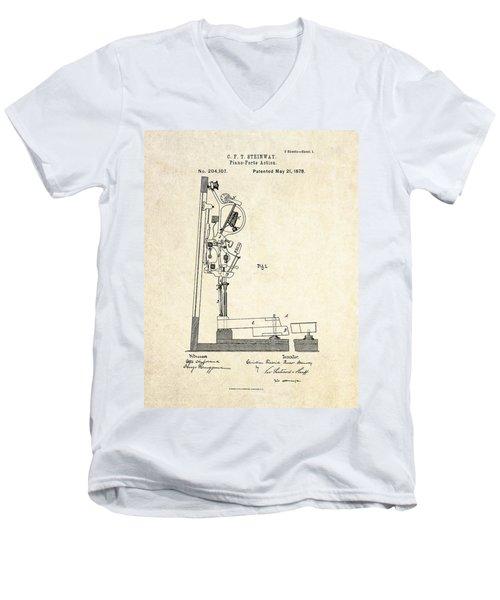 1878 Steinway Piano Forte Action Patent Art  Men's V-Neck T-Shirt by Gary Bodnar