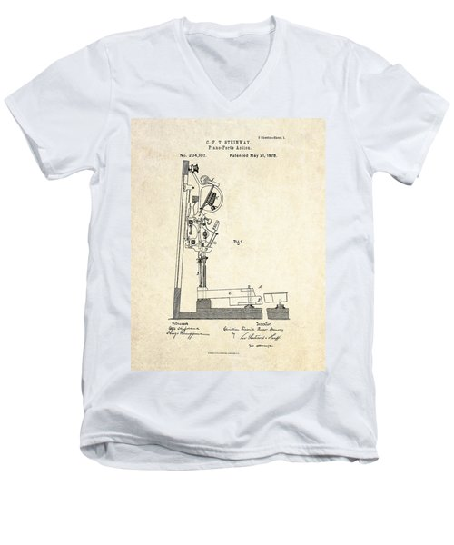 1878 Steinway Piano Forte Action Patent Art  Men's V-Neck T-Shirt
