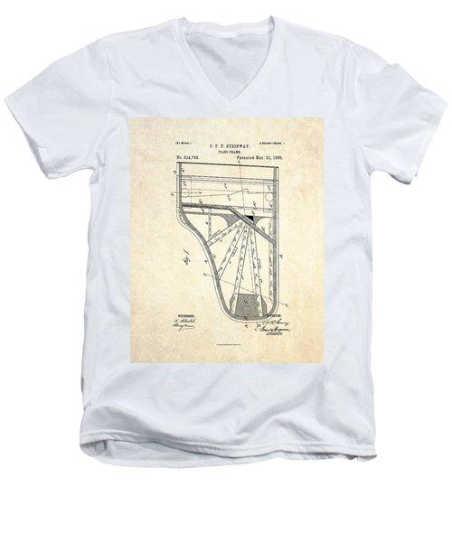 1885 Steinway Piano Frame Patent Art Men's V-Neck T-Shirt