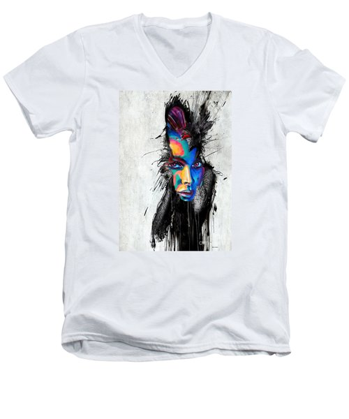 Men's V-Neck T-Shirt featuring the painting Facial Expressions by Rafael Salazar