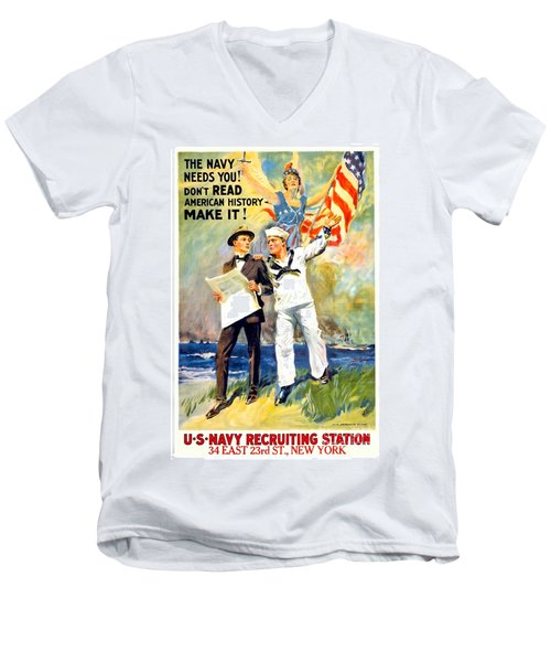 1917 - United States Navy Recruiting Poster - World War One - Color Men's V-Neck T-Shirt