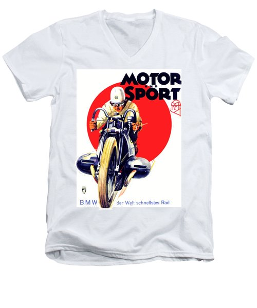 1929 - Bmw Motorcycle Poster - Color Men's V-Neck T-Shirt