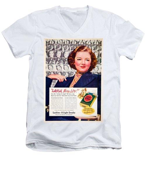 1938 - Lucky Strike Cigarettes Advertising - Myrna Loy - Color Men's V-Neck T-Shirt