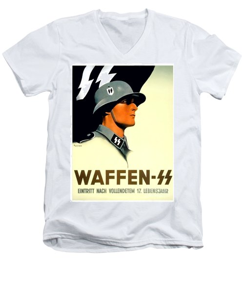 1941 - German Waffen Ss Recruitment Poster - Nazi - Color Men's V-Neck T-Shirt